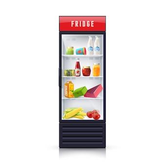 Еда в холодильнике реалистичные иллюстрации иконка