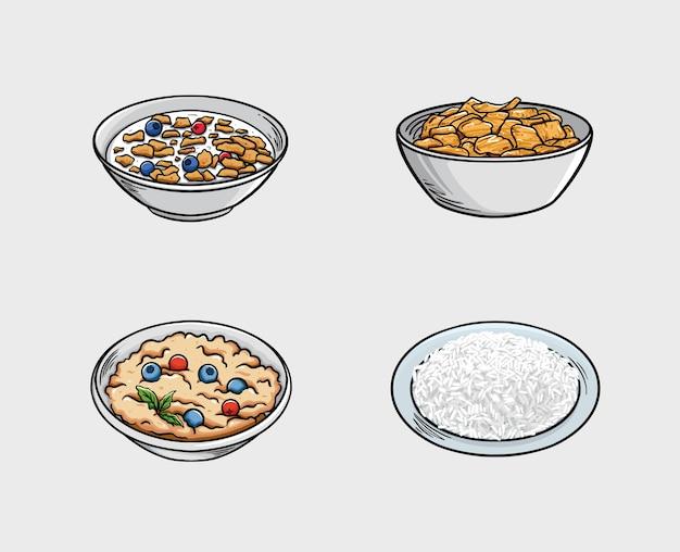 Еда включает хлопья, кукурузные хлопья, кашу и рис.