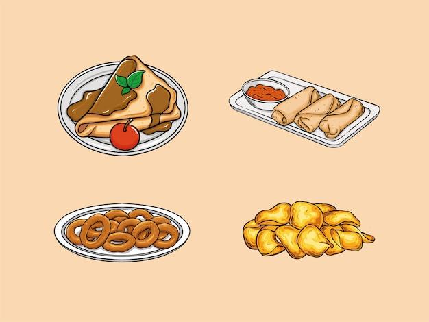 食べ物には、クレープ、エッグロール、オニオンリング、ポテトチップスが含まれます。