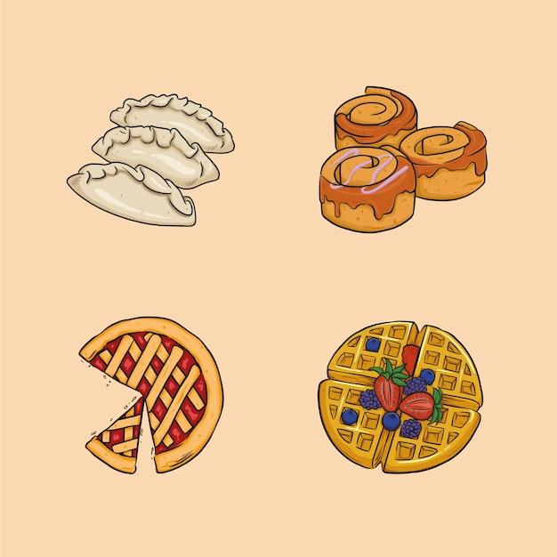 Еда включает в себя клецки, булочки с корицей, пирог и вафли.