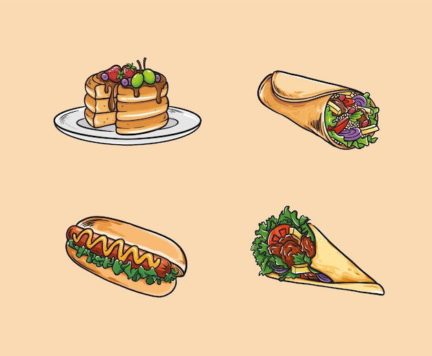 食べ物には、パンケーキ、ブリトー、ホットドッグ、ケバブが含まれます。