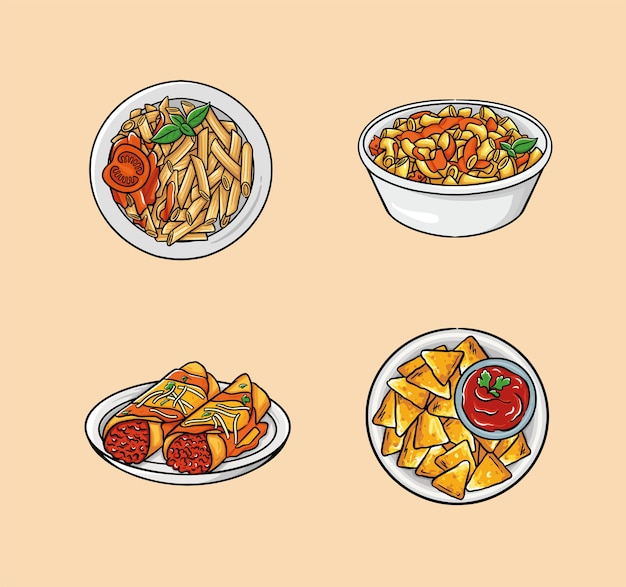 Food includes pasta, macaroni and cheese, enchilada, and nachos.
