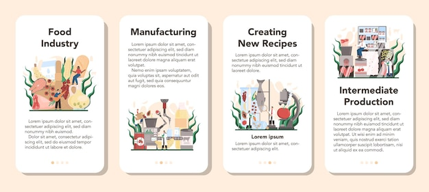 Food industry sector of the economy mobile application banner set