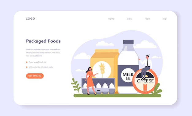 Food industry sector of the economy web banner or landing page