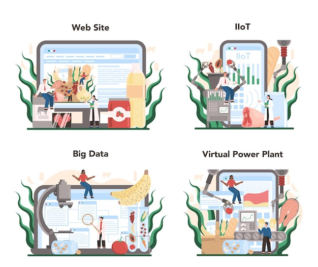 経済の食品産業部門のオンラインサービスまたはプラットフォームセット