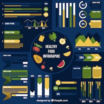 진한 파란색 배경에 음식 infographic