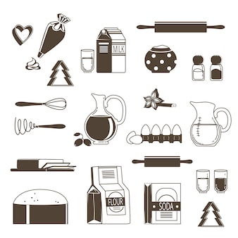 Food ingredients for baking and cooking. monochrome  illustration isolate on white. ingredient icon to cooking baking, flour and sugar
