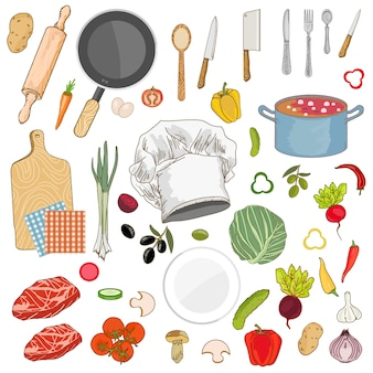 Food ingredients collection set