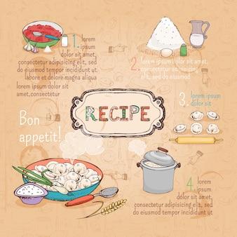 Ricetta ingredienti alimentari per ravioli, illustrazione vettoriale disegnato a mano