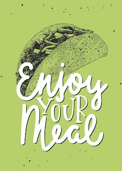 Food inspirational slogan enjoy your meal
