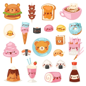 Food kawaii  cartoon bear expression characters of fastfood hamburger with icecream or doughnut emoticon illustration set of burger emotion and coffee emoji  on white background