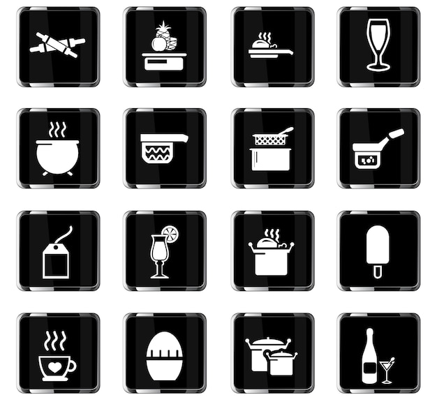 Food and kitchen vector icons for user interface design