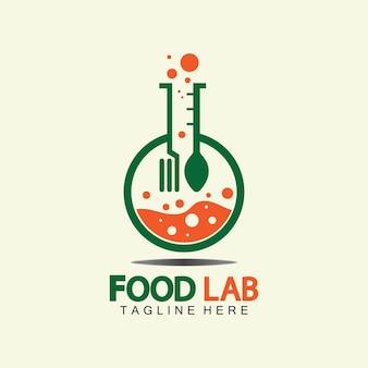 식품 연구소 로고 벡터 아이콘 일러스트 디자인 서식 파일입니다. 실험실 로고입니다. 숟가락과 포크가 있는 실험실 테스트 튜브.