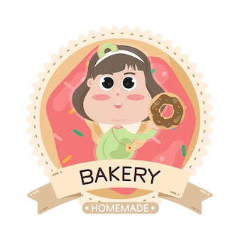 Food label bakery illustration