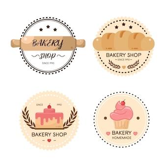 食品ラベルベーカリー、甘いパン屋、デザート、お菓子屋-デザインテンプレート。