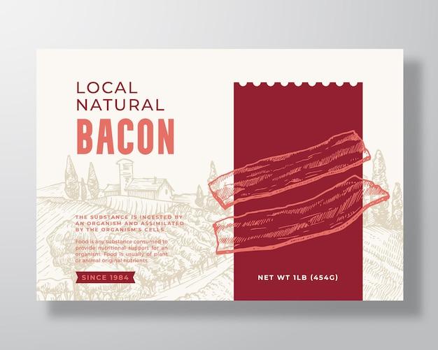 食品ラベルテンプレート抽象的なベクトルパッケージデザインレイアウト手描きのモダンなタイポグラフィバナー...