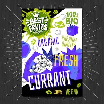 Стикеры ярлыков еды установили красочный плодоовощ стиля эскиза, дизайн упаковки овощей специй. смородина, ягоды, ягоды. органический, свежий, био, эко. нарисованный от руки.