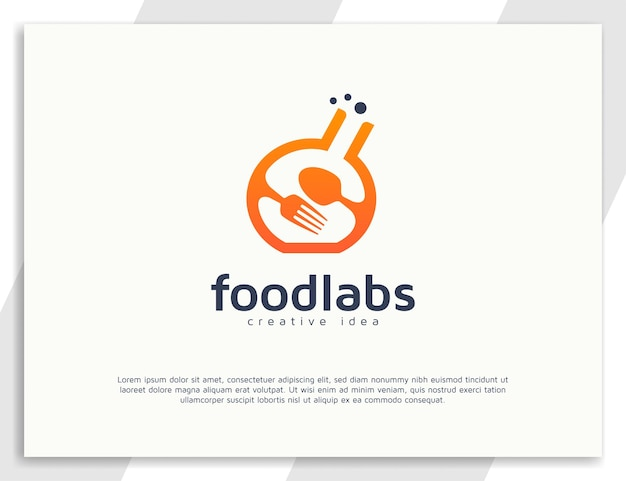 Food laboratory logo design with spoon and fork