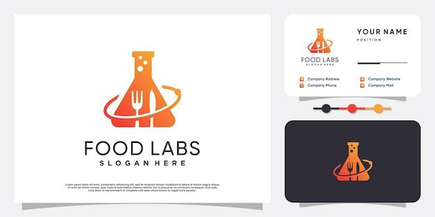 Логотип food labs с уникальной концепцией premium векторы