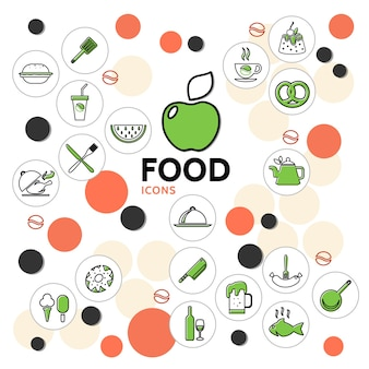 Food line icons collection with fruits drinks chicken fish ice cream cake donut sausage pretzel kitchen
