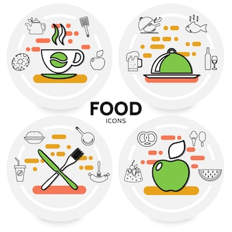Food line icons concept with coffee beer wine fish chicken apple soda burger sausage pretzel cake