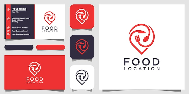 Food location logo design, with the concept of a pin icon combined with a fork, knife and spoon. business card design