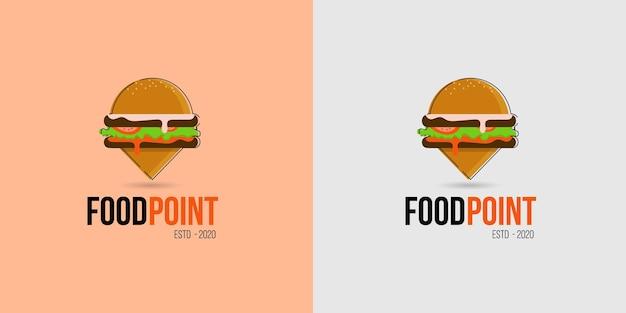 Значок логотипа местоположения еды для продуктовых магазинов, продуктовых грузовиков и пешеходных тележек