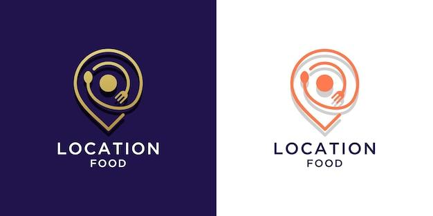 컬러 골드 디자인의 음식 위치 로고