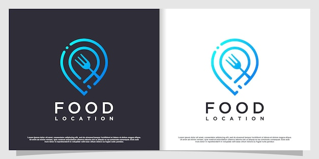 Food location logo with simple and creative element style premium vector part 1