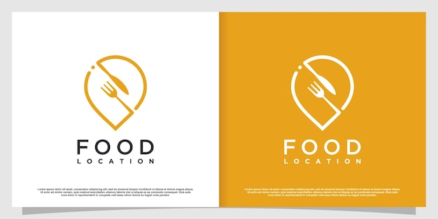 Food location logo with simple and creative element style premium vector part 2