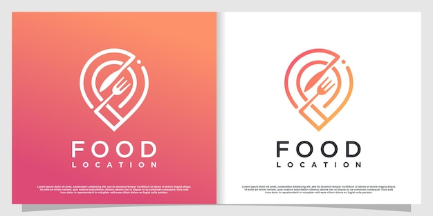 Food location logo with simple and creative element style premium vector part 3