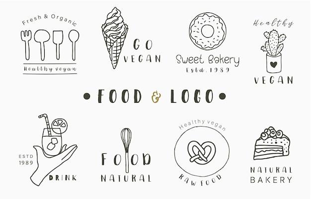 ケーキ、ドリンク、ドーナツ、アイスクリームの食品ロゴコレクション。アイコン、ロゴ、ステッカー、印刷可能なタトゥーのベクトル図