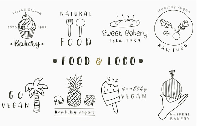 パイナップル、パン、ココナッツの木、アイスクリームと食品のロゴコレクション。アイコン、ロゴ、ステッカー、印刷可能なタトゥーのベクトル図