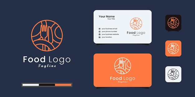 Food logo design combined with a fork and knife. business card design