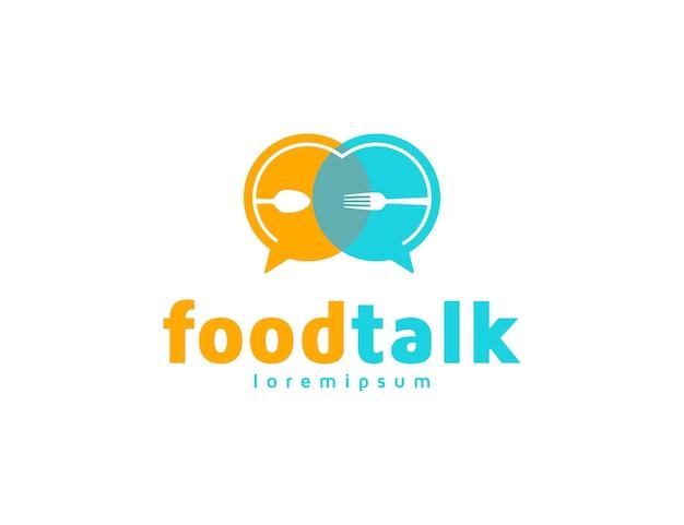 Еда логотип с концепцией беседы или сообщения