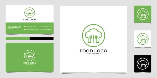 Логотип еды с дизайном логотипа шляпы шеф-повара и визитной карточкой