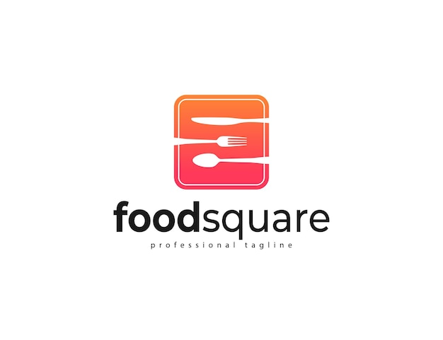 Food logo with spoon, fork, and kitchen knife design