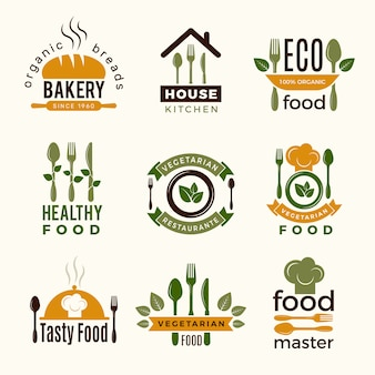 Food logos. healthy kitchen restaurant buildings cooking house spoon and fork food  symbols for design projects