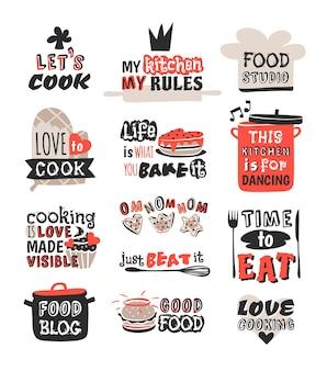 食品ロゴタイプレストランヴィンテージ料理テキストフレーズバッジ要素ラベルアイコンと手描きスタンプレトロテンプレートイラスト。