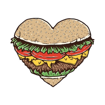 ハンバーガーfood lover illustration tシャツ