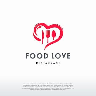 Food loverロゴデザインコンセプトベクトル、lovecookingロゴテンプレート