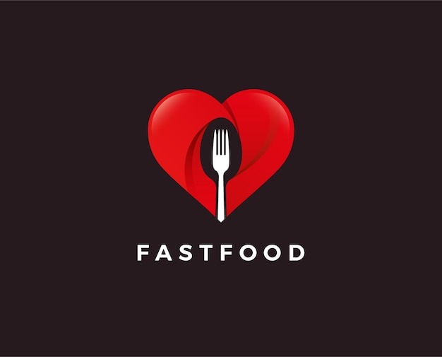 Food lover logo with fork on heart