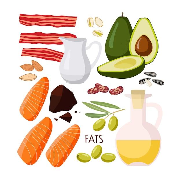 食品の主要栄養素脂肪分の多い食品セットが豊富高脂肪食品が分離されている