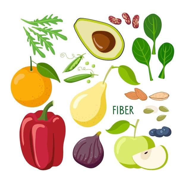 식품 다량 영양소 섬유질이 풍부한 식품 세트 건강한 영양 및 다이어트 분리를 위한 고섬유질 식품