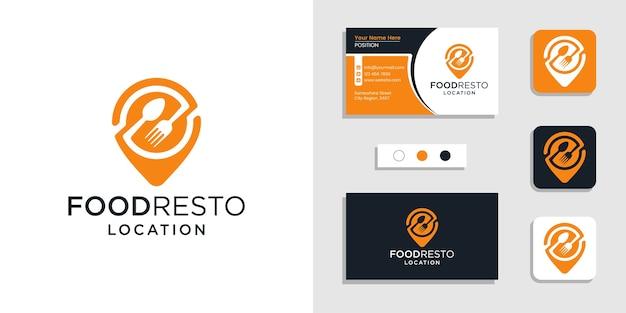 フードマップナビゲーションロゴアイコンと名刺デザインのインスピレーションテンプレート