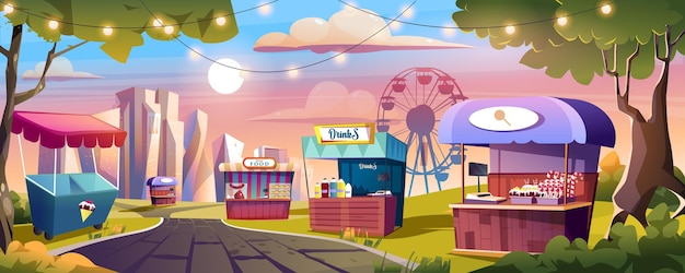 Food market and amusement park landing page market stalls with ice cream sweets drinks