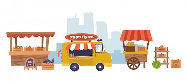 フードマーケットの食堂または食堂の木の屋台と都市公園の背景にあるダイニングテーブル。すぐに食事ができる農業公正な商業ブースのある都市景観。フラットの図。