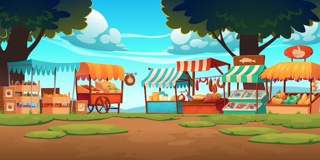 果物、野菜、チーズ、肉、魚がカウンターや木枠に並ぶ食品市場の屋台。