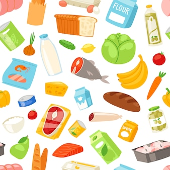 Food  meal assortment vegetables or fruits and fish or sausages from supermarket or grocery illustration set of pastry and milk or seafood products and seamless pattern