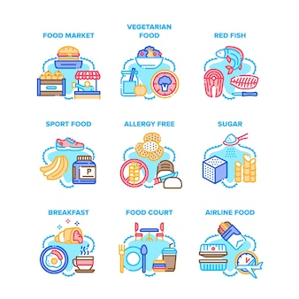 Food meal eating set icons Premium Vector